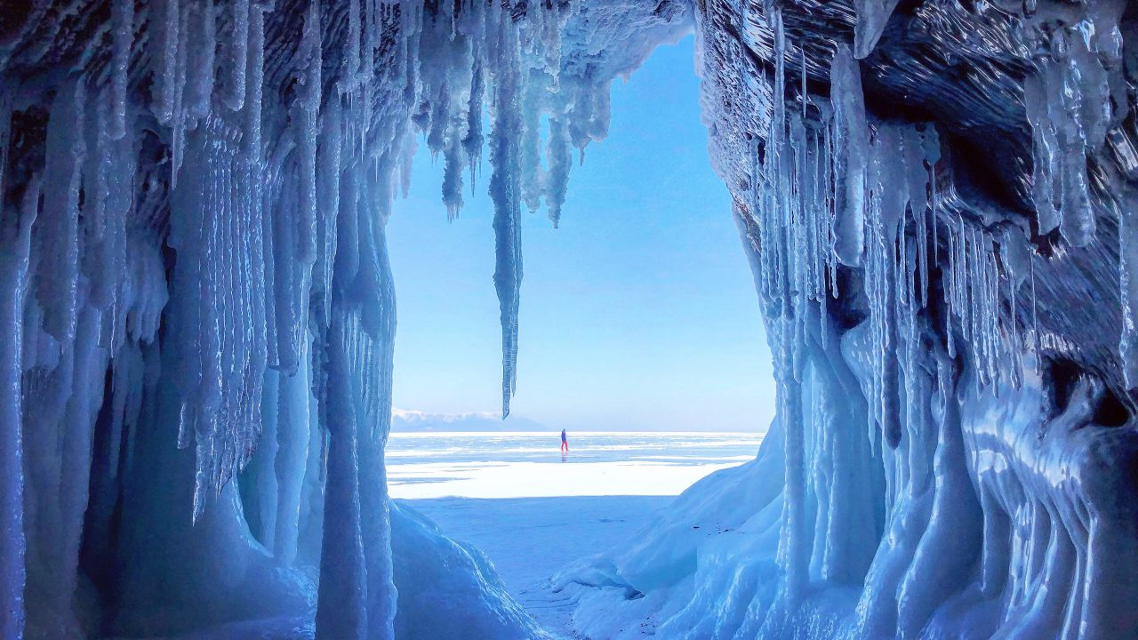 Beautiful view from the cave. Lake Baikal